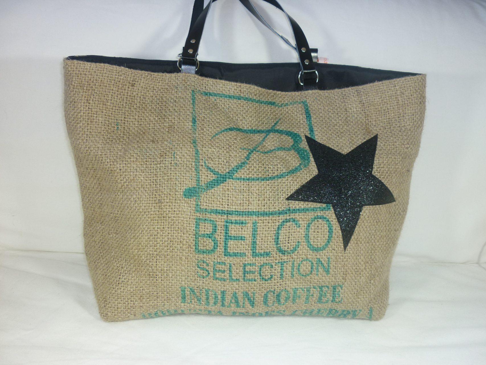 sac cabas r versible en jute recycl e ancien sac de caf. Black Bedroom Furniture Sets. Home Design Ideas