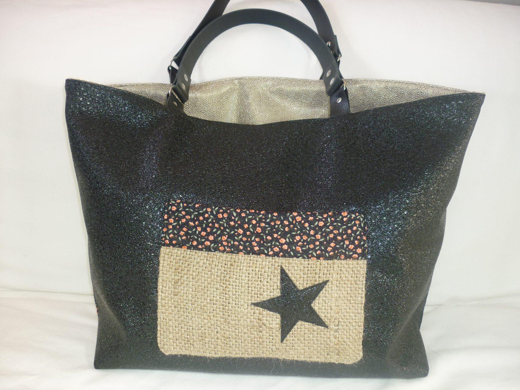 3393526d2e sac cabas toile jute réversible, étoile simili noir et anses en cuir ...