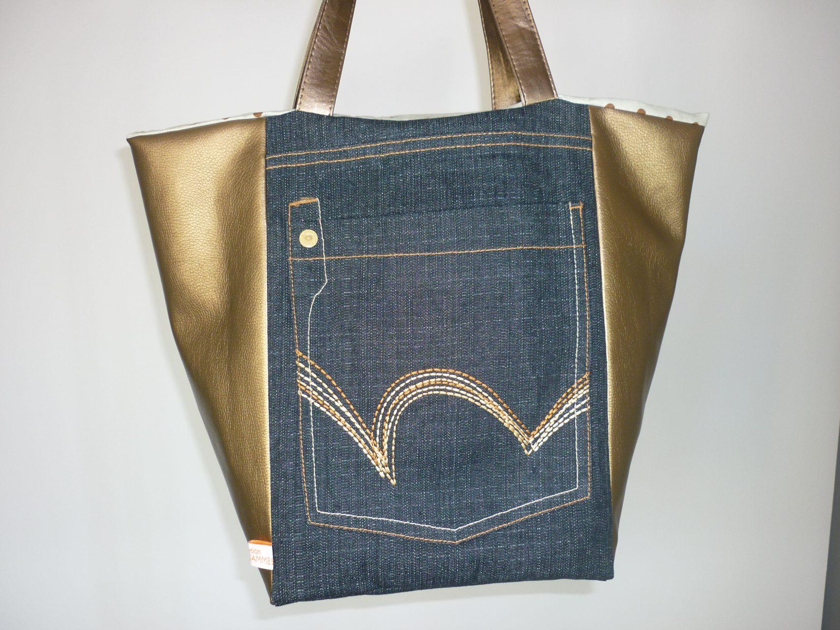 design intemporel 84dac 729c0 Sac cabas marron et jean recyclé