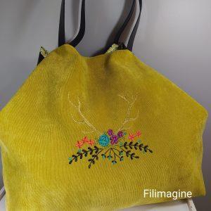 sac cabas en velours brodé avec double fermeture sécurisée