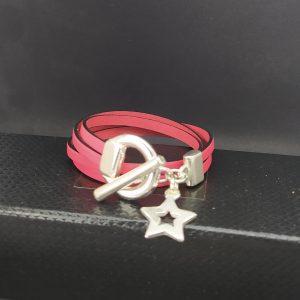 bracelet cuir double tour pampille étoile