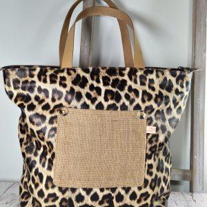 sac léopard et toile de jute avec anses en cuir