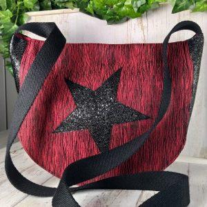 sac bandoulière en lamé rouge et noir