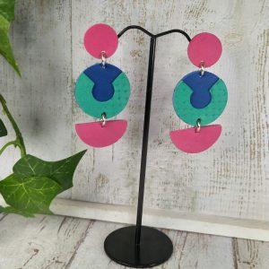 boucles d'oreilles en cuir fuchsia, bleu Klein et vert émeraude