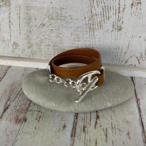 bracelet en cuir avec maille marine